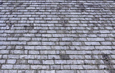 Many rows of weathered cedar shingles with lichen growing on the ends.  photo