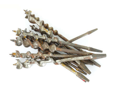 auger: Several hand brace traditional auger drill bits