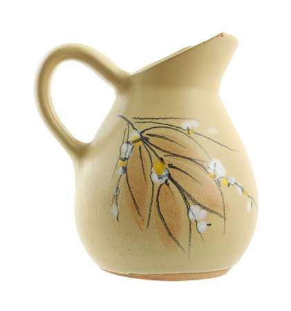 chipped: Chipped ewer with floral and leaf design  Stock Photo