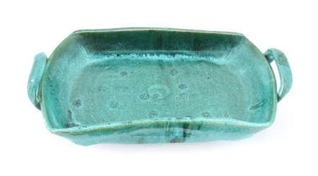 stoneware: Heavy hand made green stoneware ceramic tray