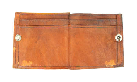 An old leather wallet against a white background.