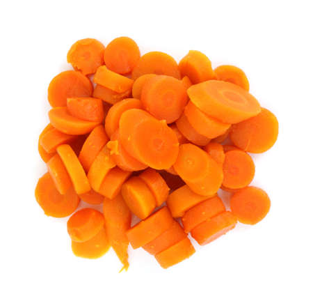 A serving of sliced cooked canned carrots against a white background. Stock Photo - 5807620
