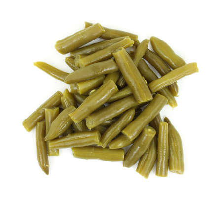 Cut and cooked canned green beans against a white background.  Stock Photo - 5850428