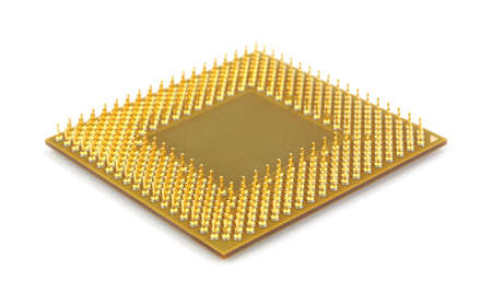 An old computer CPU at an angle with the front pins in focus against a white background.  Banco de Imagens
