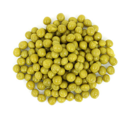 A straight down image of a serving of cooked canned peas against a white background.