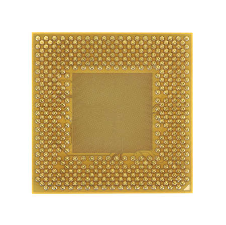 An old computer microprocessor chip against a white background. Banco de Imagens