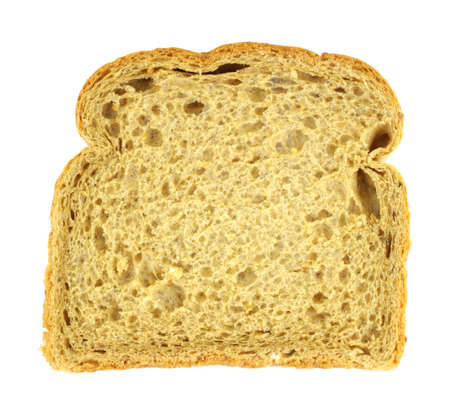 A single slice of Scotch oatmeal bread against a white background.
