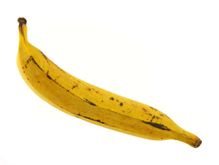 A single yellow ripe plantain banana against a white background.  Banco de Imagens