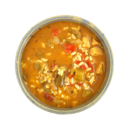 Soup with chicken and vegetables photo