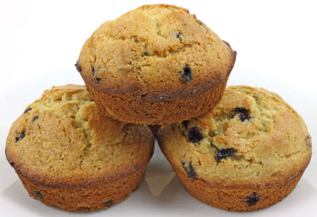 A close view of freshly baked blueberry muffins. photo