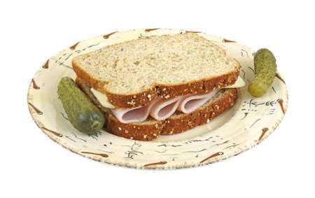 bakery products: Turkey and cheese sandwich with pickles