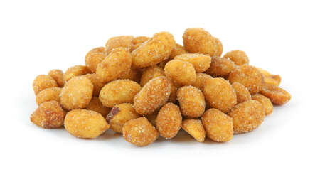 Honey roasted peanuts against a white background.