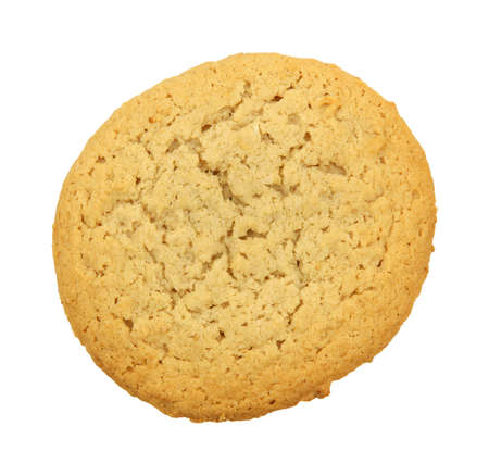 peanut butter: A single peanut butter cookie against a white background.