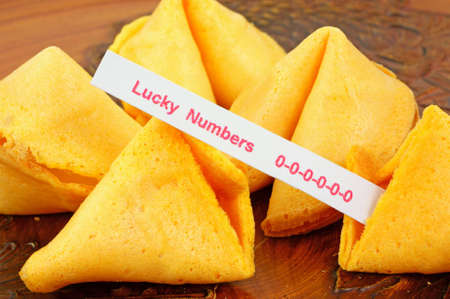 unlucky: Fortune cookie with unlucky numbers Stock Photo