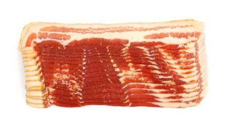 uncooked bacon: Sliced bacon with a white background