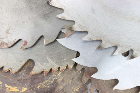 tooled: An assortment of used circular saw blades.