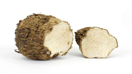 starchy food: A single malanga root vegetable cut to show the flesh on a white background.