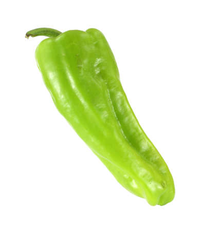 A single green cubanelle chili pepper on a white background.