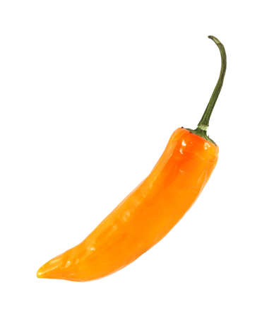 A single yellow hot pepper on a white background. Stock Photo