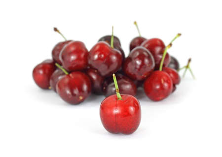 focus group: A single bright red cherry in focus in front of an out of focus group of cherries in the background on a white background.