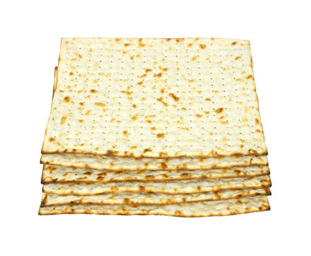 Small stack of crisp matzo crackers photo