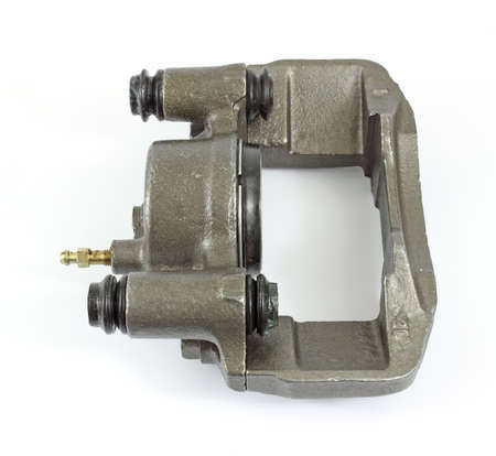 Side view of a new brake caliper on a white background.