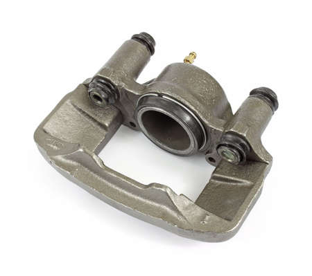 machined: A new brake caliper for small cars and trucks on a white background.
