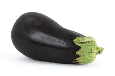 A single fresh eggplant on a white background.