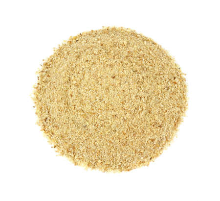 A portion of seasoned bread crumbs on a white background. Stock Photo