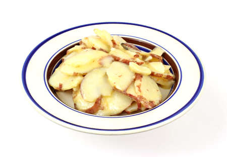 A large serving of German potato salad in a small blue rimmed dish.