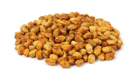 A large serving of roasted soy nuts on a white background.