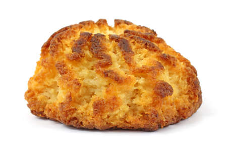 A single gluten free coconut macaroon on a white background. photo