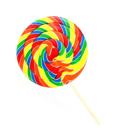 lollipops: A single large carnival lollipop on a white background. Stock Photo