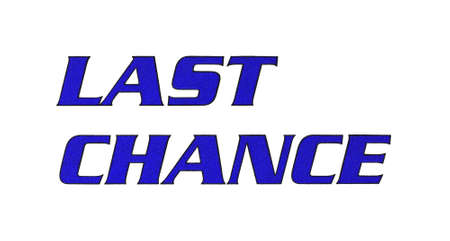 A bold last chance slogan printed on a white envelope.