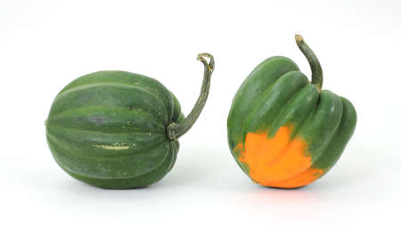 Two acorn squash arranged on a white background. Imagens