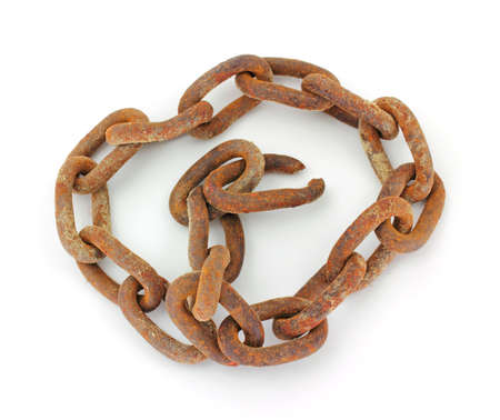 A rusty old chain on a white background.