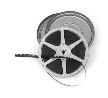 An old roll of movie film with metal case. Stock Photo