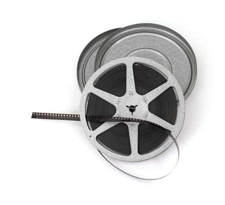 Een oude filmrolletje film met metalen behuizing.