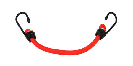 A single small orange bungee cord on a white background.