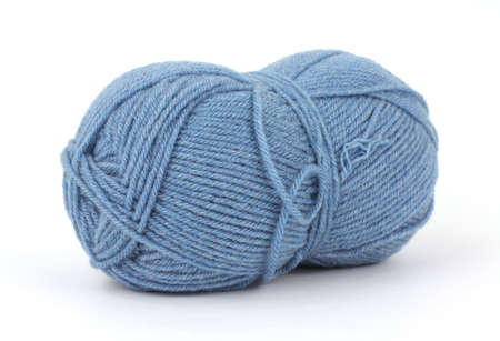 acrylic yarn: Single blue wool acrylic blend yarn on white background. Stock Photo