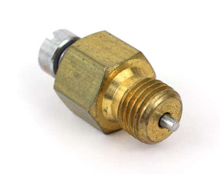 Front view of a new power screw for a small outboard motor on white background.