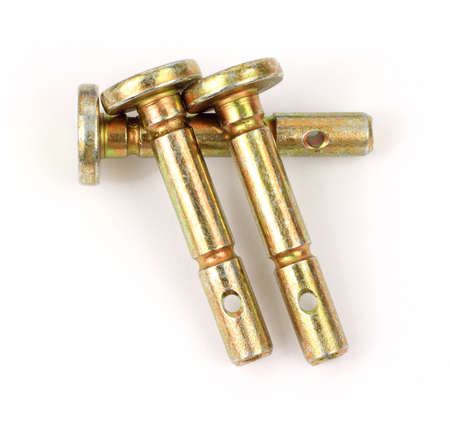 A group of three shear pins for snow blowers on a white background.