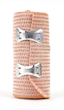 stretchy: A new elastic bandage on a white background.