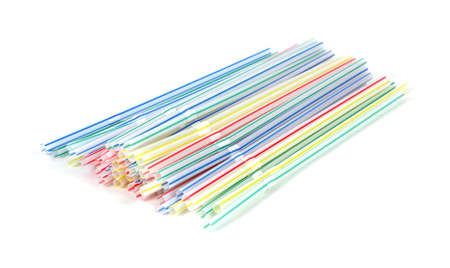 bendable: Group of bendable drinking straws on a white background.