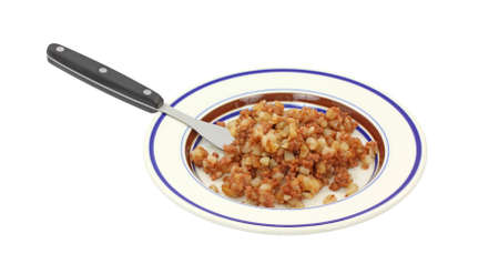 A serving of corned beef hash on a plate with fork on a white background. Stock Photo - 9066488