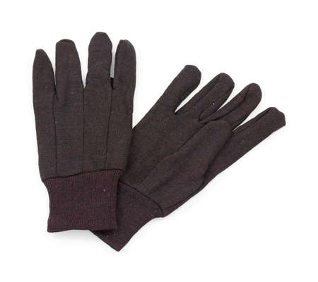 light duty: A new pair of brown work gloves on a white background. Stock Photo