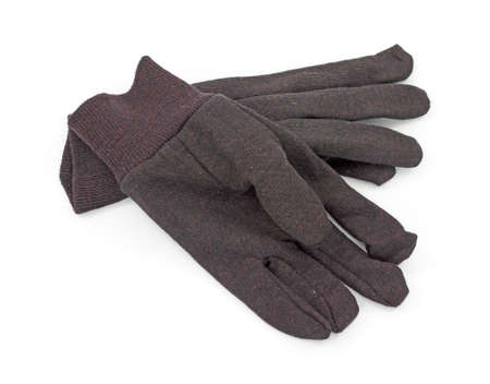 light duty: Cloth brown work gloves on a white background.