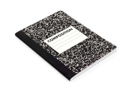 New composition notebook on a white background. Banco de Imagens