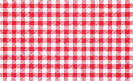 赤と白の市松模様のテーブル クロスの非常に近いビュー。