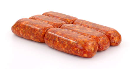 italian sausage: Several freshly made Italian sausage links on a white background. Stock Photo
